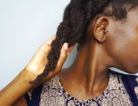 From A to 4z holding a thick braid of moisturized 4c hair