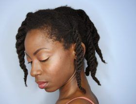 From A to 4z standing in profile showing off completed look of three strand twists on 4c hair