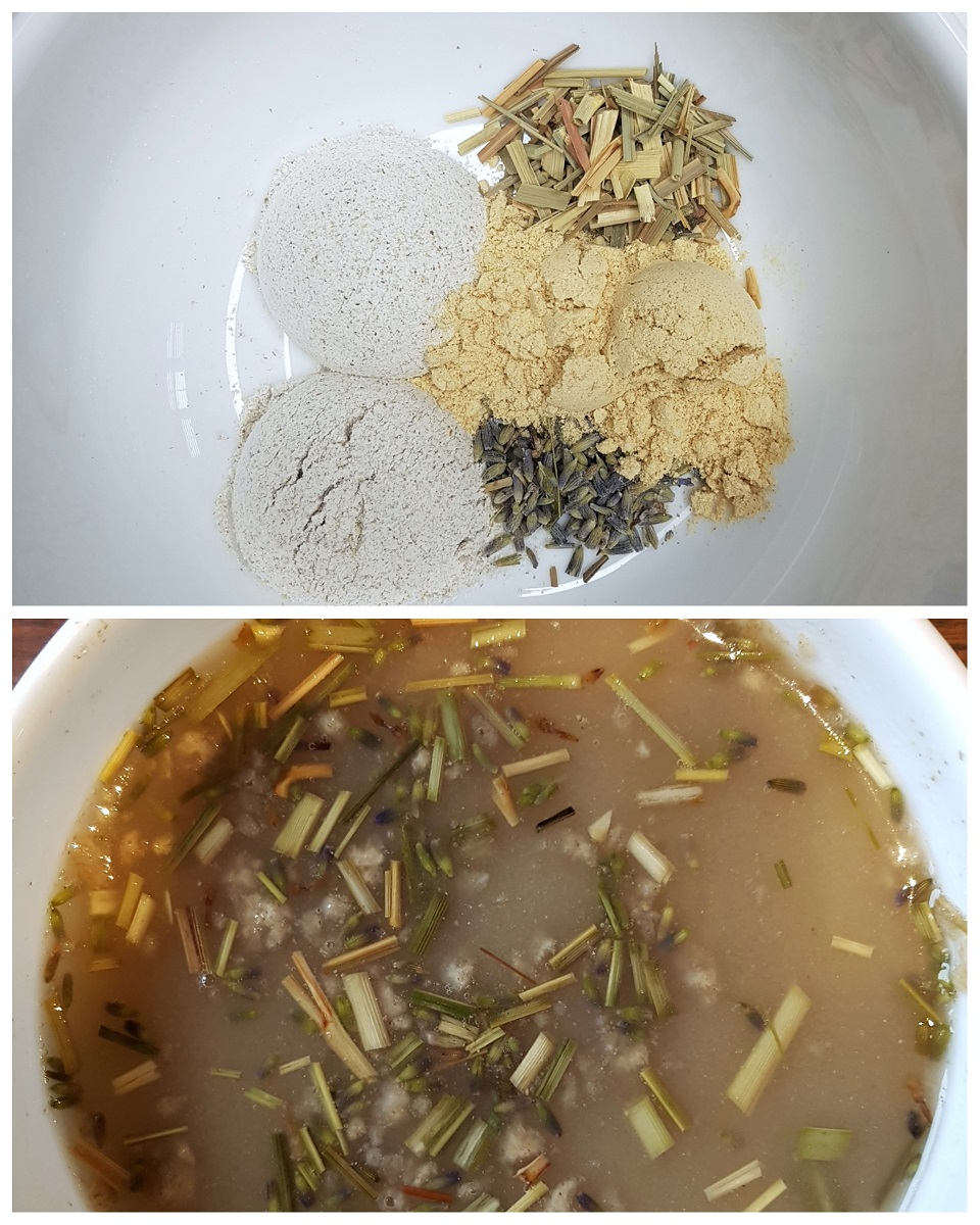 Bowl of rye flour, orris root, lemongrass, and lavandin to make an herbal rye flour shampoo