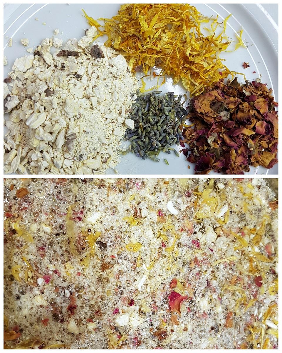 Bowl of soapwort root, calendula, rose petals, and lavandin to make an herbal soapwort root shampoo